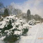 Campingpladsen med sne.