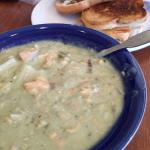 Pesto Salmon Chowder and Buffalo Chicken Grilled Cheese