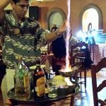 Ismael, doing one of his famous flaming drinks.
