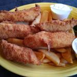 Fish and chips, clam chowder and calamari.  Great fish and chips, thick and juicy.