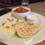 Puy lentil, chick pea & sweet potato curry with coriander rice, naan bread & raita