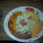 #6 beef taco and beef enchilada with beans and rice