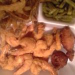 fried shrimp..fries..green beans