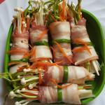 Bacon rolled with Enoki mushroom