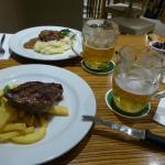 Angus rump with chips/mash and what was left of our pints ;-)