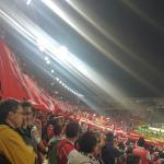 Partido de copa Libertadores entre el Independiente Santa Fe de Colombia y Estudiantes de la Pla