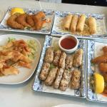 Peking ribs, wonton, breaded king prawns, spring rolls