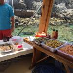 Open buffet bbq'd & freshly prepared. Trout fish, chicken, kofta, onions, spaghetti, 3 salads, p