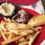 Budget buster for $6. Sliced beef, fries, garlic bread and potato salad