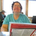 Mom looking at the menu.