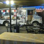 The truck and dining patio