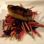 Foie Gras on a bed of julienne beetroot & pear