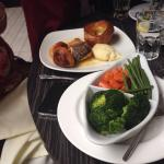 Three course Sunday lunch for £14. Prawn cocktail, roast beef main with great Yorkshire pud and
