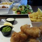 Lunch. Cod & chips with pea puree & lime tartar. Beautiful tasty & home cooked