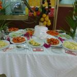 The fruit buffet for breakfast