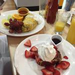 5-egg omelet with a side of red velvet French toast; pot roast Benedict