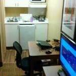 The so-called kitchenette with the tiny fridge (extended stay america boasts about full size fri