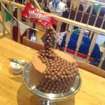 Homemade Maltesers gravity cake.
