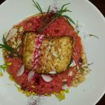Hake with Beetroot Risotto
