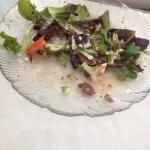 Greek salad, Athenian combo, baklava, and a stuffed pepper.