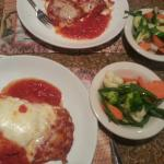 Eggplant rollatini and parmagea with vegetables instead of spaghetti