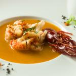 Crayfish tail soup brunoise with vegetables and fresh dill