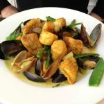 seafood curry: clams, mussels and monkfish