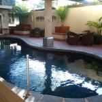 the nice looking pool area
