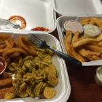 Sampler (cheesesticks, onion rings and fried pickles) & Fish-N-Chips!