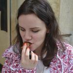 Sampling Pierre Hermé's chocolate macaroons during the Gourmet Tour