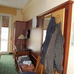 Wardrobe, hangers and desk