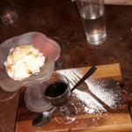 Vanilla ice cream and sherry drizzle