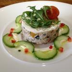 crab tartare, sour cream and basil