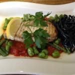 swordfish provencale, squid ink pasta and broad beans