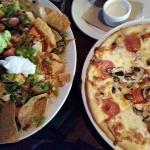 Chicken nachos and pepperoni mushroom pizza -happy hour food