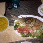 Grilled fish (similar to captain fish) with piri-piri-sauce and shallot butter - really yummy