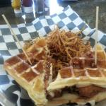Unbelievable chicken and waffle sandwich!
