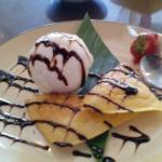 bali style waffles with coconut ice cream