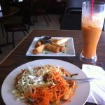 pad thai chicken (mild) with pork lumpia and my fave THAI ICED TEA ;)