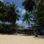 View of beach bar from sunbed