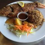 Whole grouper with rice, salad and plantain
