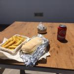 lovely chicken roll and homemade chips from fresh deli