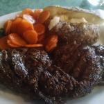 Ribeye w/ Baked Tater and carrots