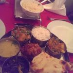 vegetable thali and chicken jalfrezi