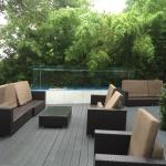 Large deck with waterfall fountain