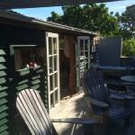 Shepherd's hut deck