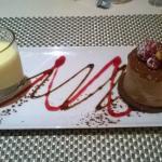 Mousse chocolat coeur de crème brûlée