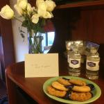 Flowers, card and cookies from the staff