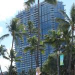 Trump hotel as seen from the adjacent beach park