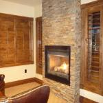 cozy fireplace; double, inside and out